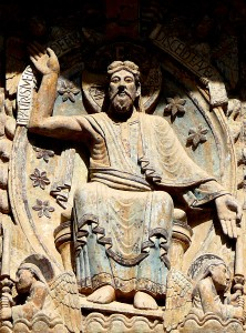 At left, a detail from the west tympanum at the Church of St. Foi, Conques,